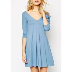 Stylish V-Neck 3/4 Sleeve Solid Color Pleated Women's Dress