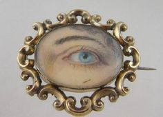 Antique Gold Frame Miniature LOVERS EYE Ivory Painting Brooch