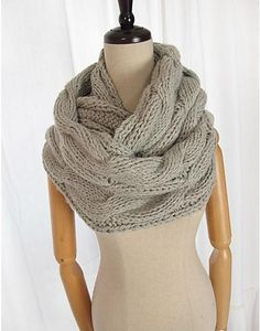Ravelry: Ajia - infinity scarf pattern by Mary Davids Just bought this pattern! Got alpaca yarn to make it with! Cowl Scarf, Knit Cowl, Knit Crochet, Cable Knit, Crochet Pattern, Knitting Patterns, Autumn Fashion, Creations, Couture