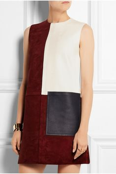 Burgundy suede, ivory and black leather Concealed hook and zip fastening at back 100% leather (Lamb); lining: 100% viscose Specialist clean