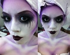 """Halloween make-up-- blue instead of purple and a bit less dark eye makeup, and this would be a cute way to go about the Emily makeup from """"Corpse Bride""""! Description from pinterest.com. I searched for this on bing.com/images"""