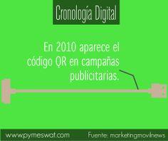 #CronologíaDigital En 2010 aparece el código QR en campañas publicitarias.  #QR #publicidad