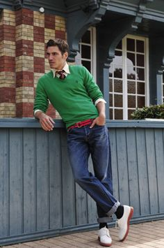 go green, AND THE SHOES! I'm still wavering about the rolled jeans...I don't know if everyone can pull that off...