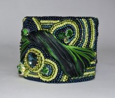 Made to Order Bead Embroidery Navy Kelly Green by ReneGibson