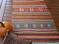 Vintage Norwegian Design Hand Loomed Rug - Antique Scandinavian Decor - Nordic Cabin Woolen Floor Rug - Primitive Colorful Rustic Farmhouse - pinned by pin4etsy.com