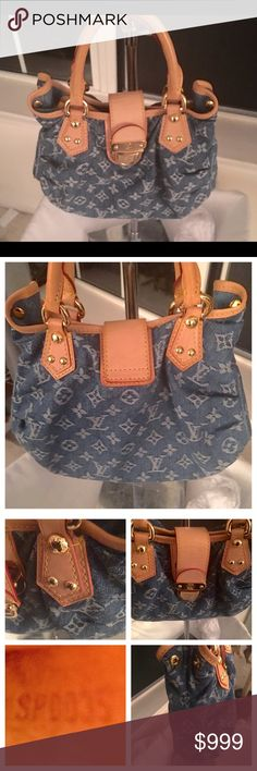 LOUIS VUITTON PLEATY DENIM SATCHEL, New w/ Cover I am selling a Vintage Louis Vuitton Denim Pleaty bag with leather trim that has never been used and is in brand new condition. It comes with the Dust Cover. Hard to find in brand new condition. Louis Vuitton Bags Satchels