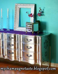DIY Silver Leaf #Vintage Dresser