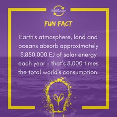 MV Solar Fun Fact: Earth's atmosphere, land and oceans absorb approximately EJ of solar energy each year - that's times the total world's consumption. Renewable Energy, Solar Energy, Solar Solutions, Newcastle, Oceans, Solar Panels, Fun Facts, Earth, Times