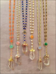 Rosary Style Beaded Gold Dipped Crystal Necklaces - Quartz Crystal - elladolce