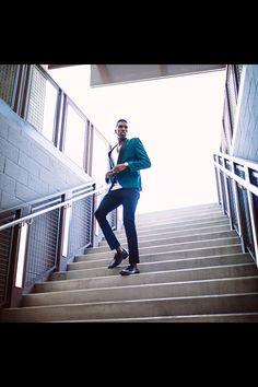 Male High Fashion Editorial of Model Kenneth Hill. Men's warehouse. Kenhillfta Top black models. Suit and tie. Lifestyle, commercial, fall fashion. Hugo Boss,  GQ Suit, H&M Green blazer. Modern, fitted, men's fashion.