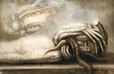 You've always wondered how the xenomorph in 'Alien' worked. Now it's time to go behind the scenes and meet the xenomorph in 'Alien. Concept Art Alien, Star Wars Concept Art, Arte Alien, Alien Art, Xenomorph, Mark Riddick, Hr Giger Alien, Astronaut Drawing, Giger Art