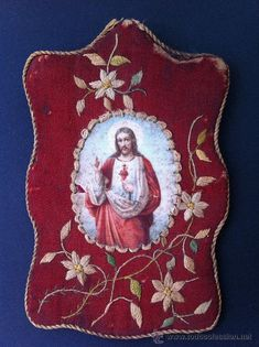 ANTIGUO ESCAPULARIO SAGRADO CORAZÓN DE JESUS BORDADO EN SEDA Y ESTAMPA LITOGRAFIADA. 13x8,5cm