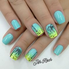 Nail ideas designs for summer palm tree nails, summer nails Cruise Nails, Vacation Nails, Gorgeous Nails, Pretty Nails, Nails Ideias, Palm Tree Nails, Best Nail Art Designs, Summer Nail Designs, Beach Nail Designs