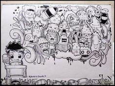 Boredom Strikes again! Doodle Wall, Cute Doodle Art, Doodle Art Designs, Doodle Art Drawing, Doodle Characters, Graffiti Characters, Kawaii Doodles, Cute Doodles, Doddle Art