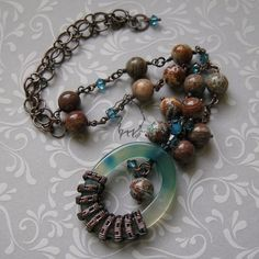 Warm Turquoise necklace by Dark-Lioncourt on DeviantArt Beaded Bracelets, Necklaces, Ornament Wreath, Wire Wrapped Jewelry, Turquoise Necklace, Jewelery, Design Inspiration, Pendants, Warm