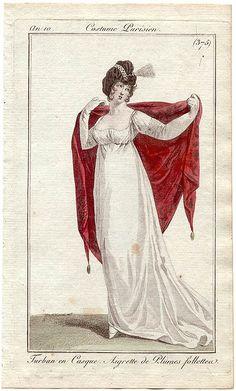 An 10 Costume Parisien #375 Turban en Casque. Aigrette de Plumes follette