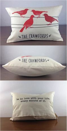 Super cute and sweet - this personalized pillow is a great way to show some family love. A bird is added for each family member! A great way to welcome a new addition to the family!   Made on Hatch.co by makers who care.