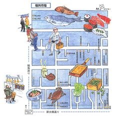 "Mitsuko Onodera - Japanese map design クロワッサン市場新聞01 (Magazine House""Croissant"")"
