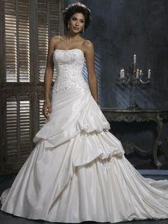 Strapless Taffeta A-Line Asymmetrical Pick Up Wedding Dress