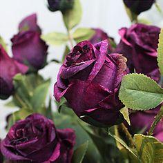 """3頭の28 """"lセットタイのロマンチックなバラの絹の布の花紫 – JPY ¥ 1,957"""