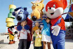 mascots at Ravensburger Spieleland - Käpt´n Blaubär, Hein Blöd, Fix und Foxi