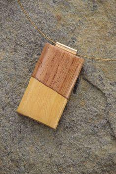 Yellowheart & Narra pendant on an 18 wire by TheBlacKatStudio, $25.00