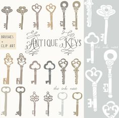 CLIP ART and Photoshop Brushes - Antique Keys - for commercial and personal use