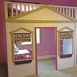DIY Furniture Plan from Ana-White.com  A totally buildable playhouse loft bed that can be easily assembled in rooms.  Features cottage styling, open ladder, full railings, three large windows and a doorway. Freestanding.