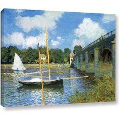 Claude Monet The Argenteuil Bridge Wrapped Canvas, Size: 14 x 18, Green