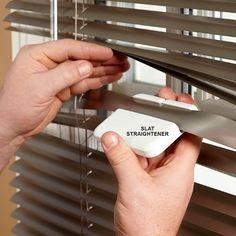 Straighten a Bent Blind - 10-Minute House Repair and Home Maintenance Tips: http://www.familyhandyman.com/smart-homeowner/diy-home-improvement/10-minute-house-repair-and-home-maintenance-tips#16