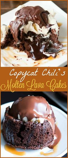 Copycat chili's molten lava cakes recipe is way easier to make than you probably think and that hot fudge oozing out is such a crowd pleaser! ohsweetbasil.com