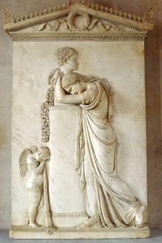 After Antonio Canova - Funeral Stele of Pietro Stecchini (1822-39),attributed to Rinaldo Rinaldi. Paris, Louvre Museum.