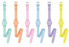 Swatch watches in beautiful colors.I have the one to the far left and love it Swatch, Pastel Fashion, Pastel Colors, Pastels, Soft Colors, Seesaw, Pretty Pastel, Cool Watches, Wrap Watches
