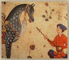 Horse and lefthanded musician , Persian painting