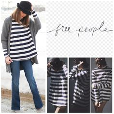 "Free People Navy/White Mod About It Tunic.  NWT. Free People We The Free Navy/White Striped Mod About It Tunic, 100% cotton, machine washable, 20.5"" armpit to armpit (41"" all around), 22"" arm inseam, 29"" length, striped long sleeves babydoll tunic, turtle neck, raw trim, measurements are approx.  ....No Trades... Free People Tops"