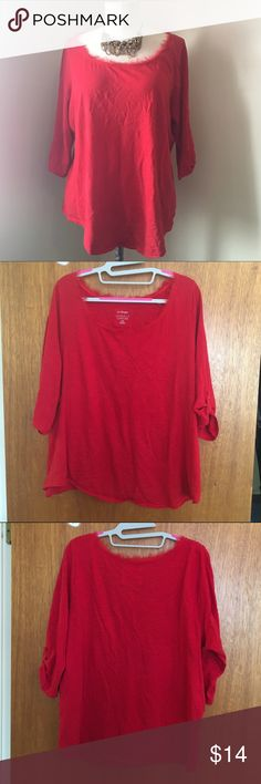 3/4s Red Cotton Shirt Three quarters shirt with small roll up secured with a button tab. Semi-sheer fabric around the neckline that is purposely frayed. Very comfy! Lane Bryant Tops