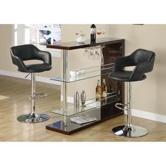 Monarch Specialties 2357 Black and Chrome Metal Hydraulic Lift Barstool