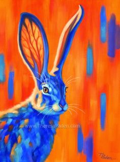 Tucson Jack, Colorful Rabbit Painting by Theresa Paden SOLD, painting by artist Theresa Paden