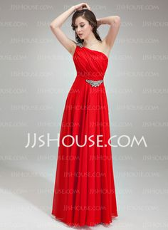Evening Dresses - $132.99 - A-Line/Princess One-Shoulder Floor-Length Chiffon Evening Dress With Ruffle Beading (017018785) http://jjshouse.com/A-Line-Princess-One-Shoulder-Floor-Length-Chiffon-Evening-Dress-With-Ruffle-Beading-017018785-g18785