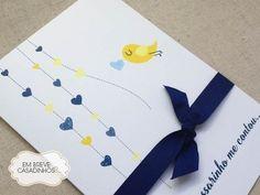 Convite Um Passarinho, convite de casamento, convite azul, convite de casamento amarelo, convite descontraído