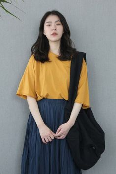 63776cc304 Korean fashion casual street yellow pullover sweater navy blue skirt black  backpack easy Source by t