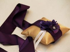 Purple Gold Pillow Wedding Ring for Dogs, Purple Flower on Gold Pillow with Rhienstone, Wedding Dog Accessory, Ring Bearer Pillow on Etsy, $42.99