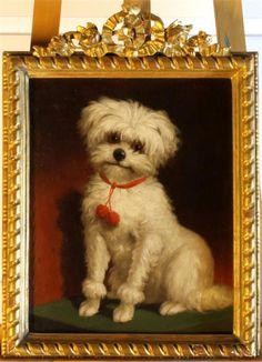 Öl auf Karton, Motiv eines sitzendes Hundes, Adam arbeitete in Rio de Janeiro und  war später Schüler der Kunstakademie München, im vergoldeten Rahmen mit floralem Aufsatz, Maße: ca. 40 x 32 cm