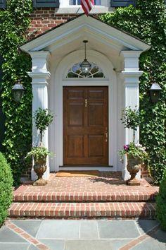 Front Door Porch, Front Porches, Front Entry, Exterior Front Doors, Patio  Doors, Front Entrances, Grand Entrance, House Exteriors, Darien Connecticut