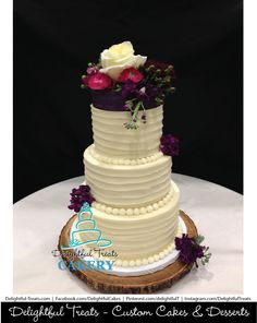 Horizontal Rustic Buttercream Wedding Cake By Delightful Treats Cakery Orlando