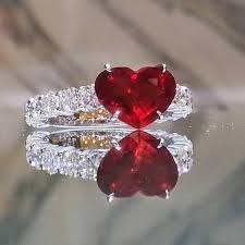 "Forever Classic moissanite engagement ring white gold SI-H diamond wedding band bridal ring round Moissanite promise ring women ring - Fine Jewelry Ideas - Heart Shaped Ruby Ring. No Lapidário de Philippe de Valois é dito: ""Os livros dizem-nos que o b - Ruby Jewelry, Heart Jewelry, Diamond Jewelry, Jewelry Rings, Jewelry Accessories, Fine Jewelry, Heart Rings, Gold Jewelry, Jewellery Box"