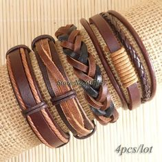 Wholesale 4pcs genuine Brown male charm real leather bracelet men for Chrismas pulseira masculina Feminina couro mujer-S143