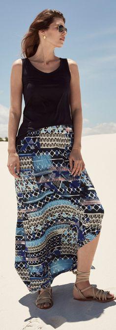 5844c88870a7 Batik Aztec Shirred Waist Maxi Skirt Long Tall Sally, Clothing For Tall  Women, Clothing