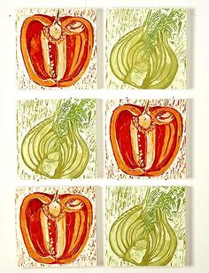 Google Image Result for http://www.hennydonovanmotif.co.uk/images/Food-art-picture1.jpg- Lino Printing. I really like this piece. Its very simple but has so much detail involved. I feel it captures the vegetables well and makes them a lot more exciting. The colours are soft and neutral and really catch the eye.