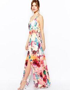 Warehouse - Maxi robe à imprimé roses